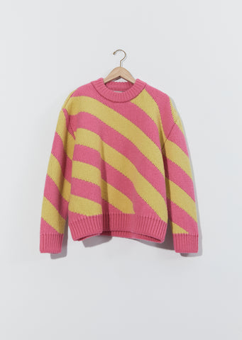Diagonal Stripe Wool Sweater