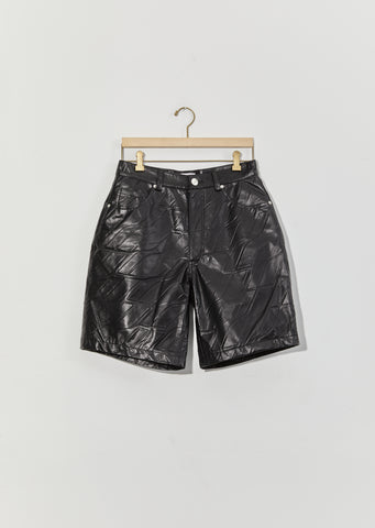 Logo Embossed Faux Leather Trouser