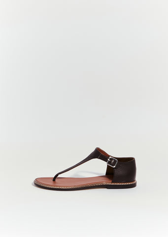 Flavor Grain Leather T-Strap Sandals