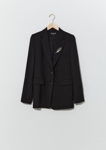 Wool Suit Jacket w/ Brooch