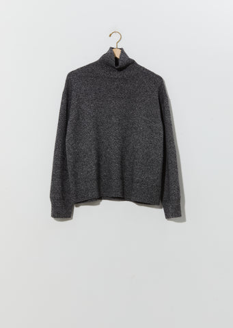 Moore 3-Ply Cashmere Turtleneck — Marled Black