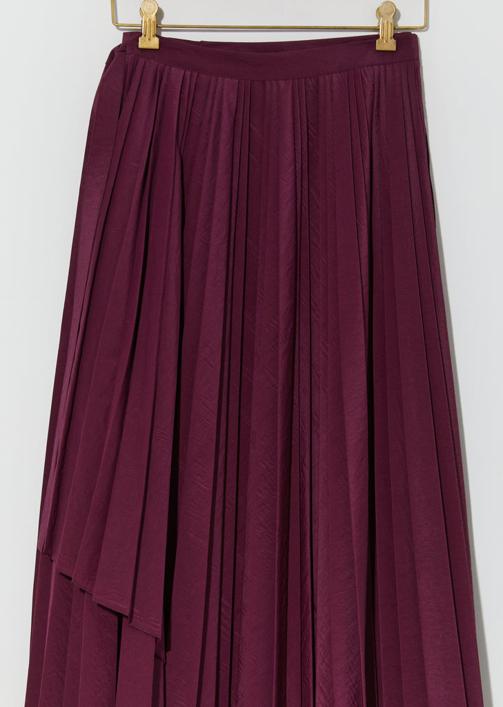 Wool Organza Pleated Pareo Skirt