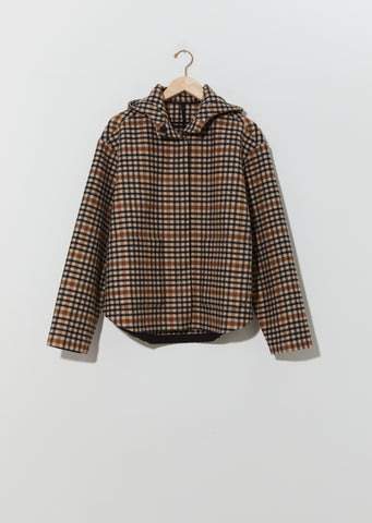 Checked Wool Hoodie Jacket