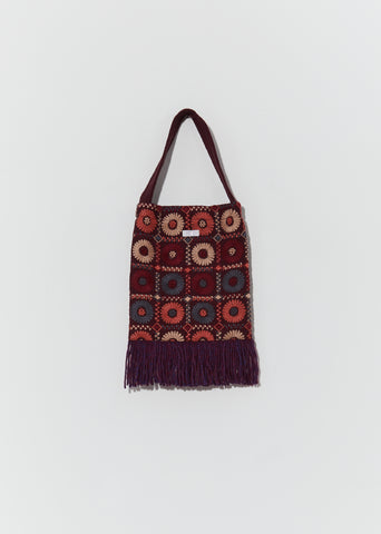 Embroidery Fabric Bag — Burgundy