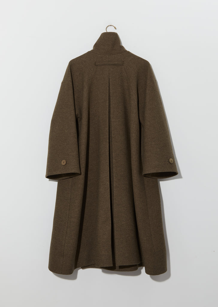 Lambswool Felt Fencer Coat — Khaki