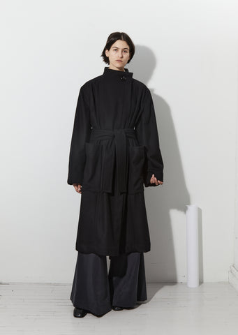 Wrapover Coat — Black
