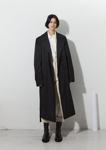 Unisex Cotton Trench Coat — Black