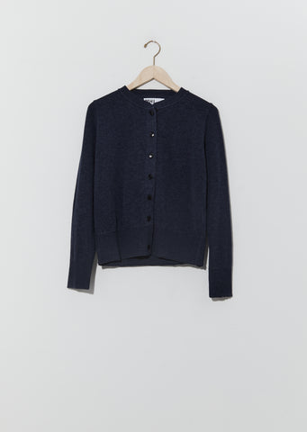 Organic Cotton Wool Thermal Knit Cardigan — Uniform Blue