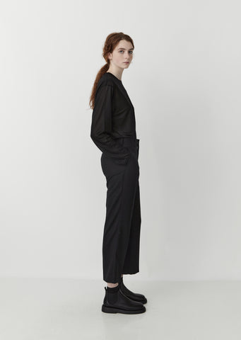 Wool Blend Gabardine Suit Trousers