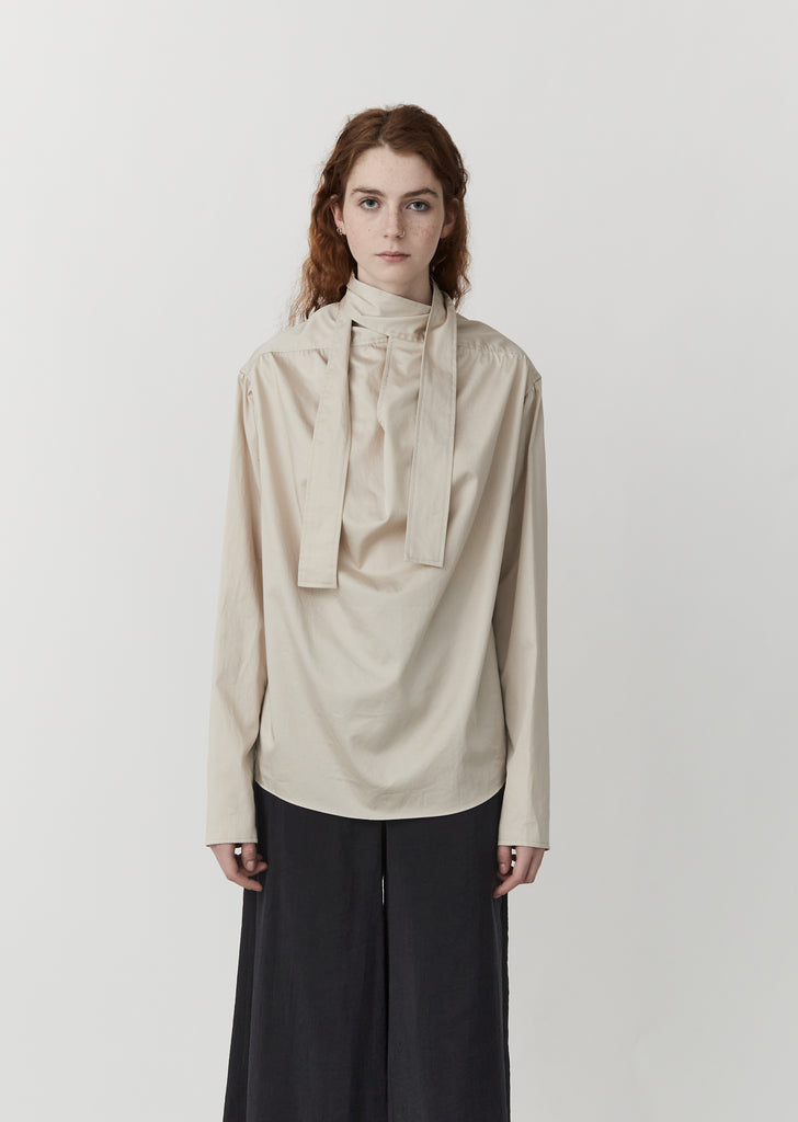 Cotton Satin Blouse with Tie — Oatmeal