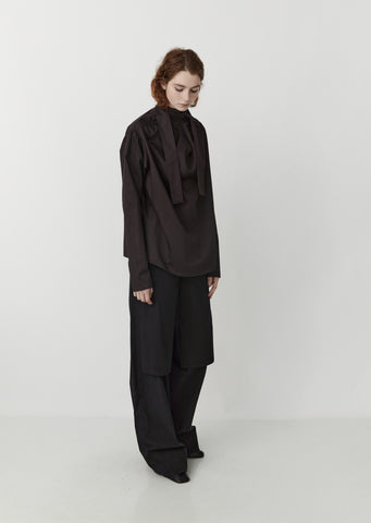 Cotton Satin Blouse with Tie — Midnight Brown