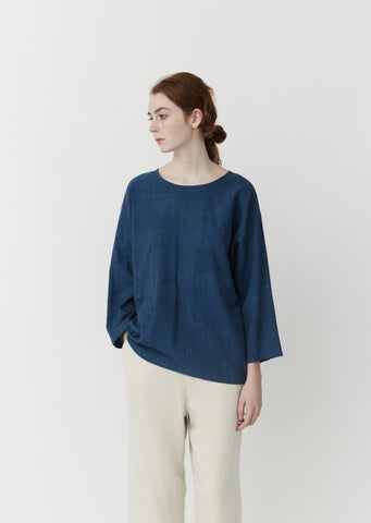 Woven Popover Shirt — Medium Indigo