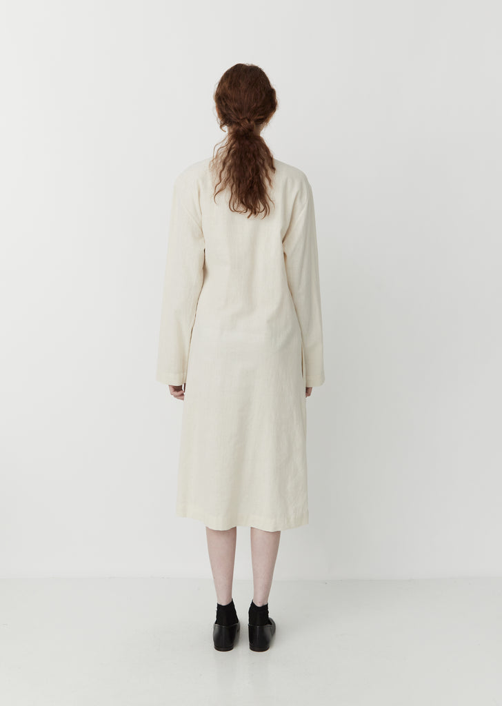 Long Natural-Dyed Jacket / Dress — Ecru