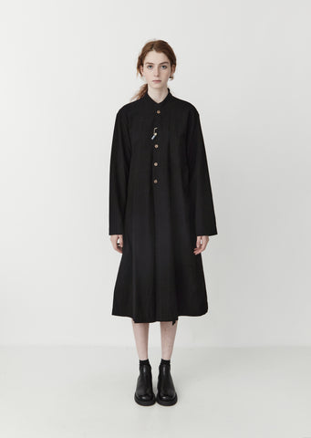 Long Natural-Dyed Jacket / Dress — Black