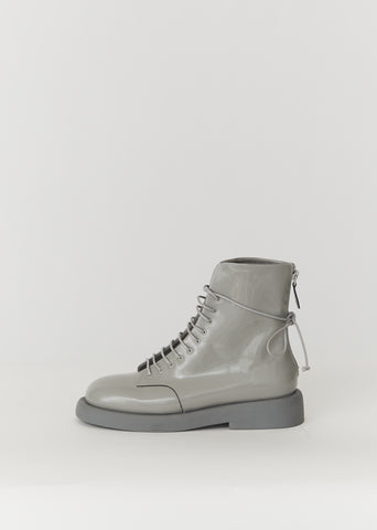 Gommello Patent Leather Boots — Grey