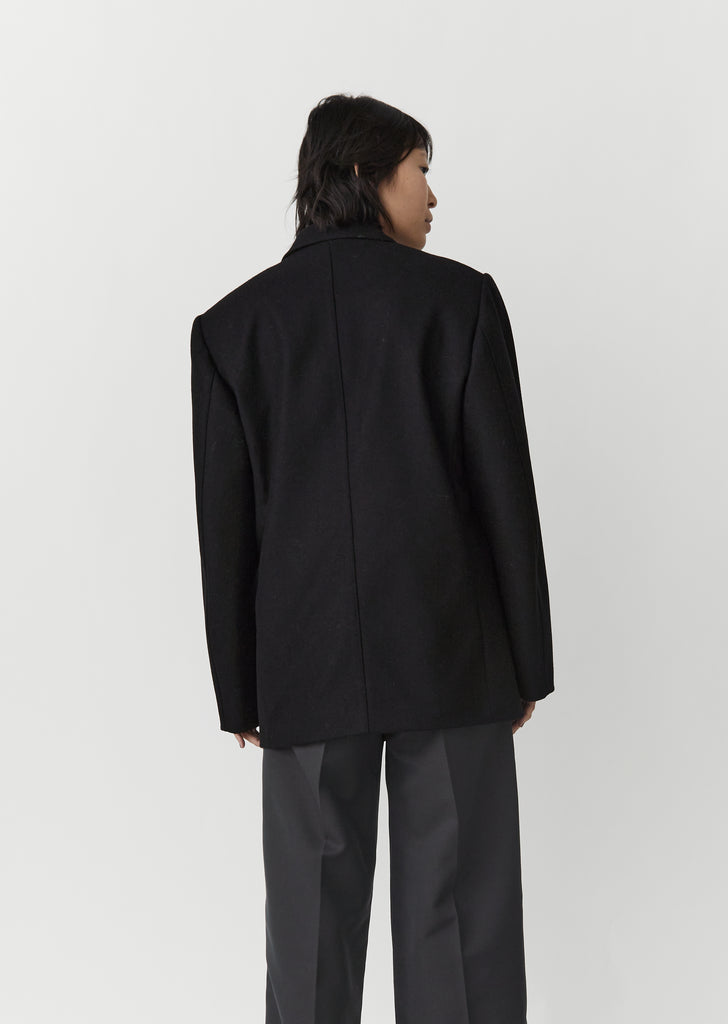 Long Single Breasted Jacket — Black