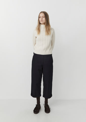 Wool & Cotton Cropped Turn Up Trouser