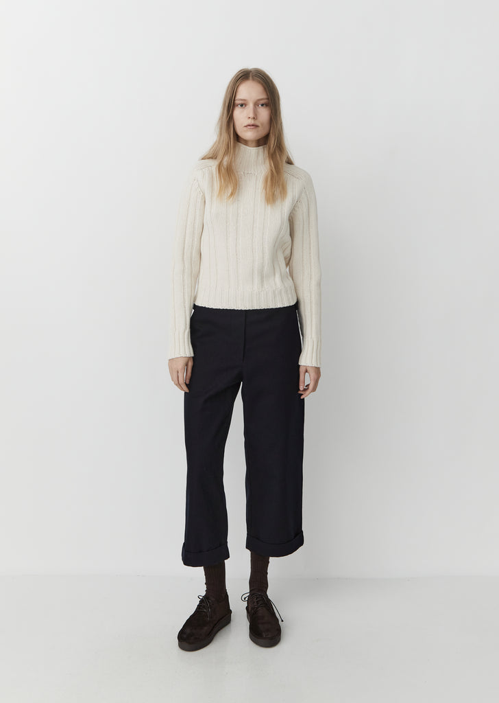 High Neck Ribbed Jumper — Chalk