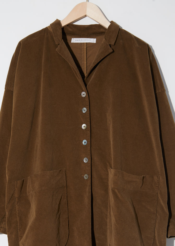 Velvet Long Coat — Caramel