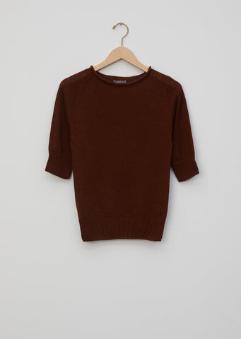 Cotton Linen Cast Off Roll Neck Sweater