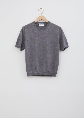 Lara Wool & Silk Crewneck — Grey
