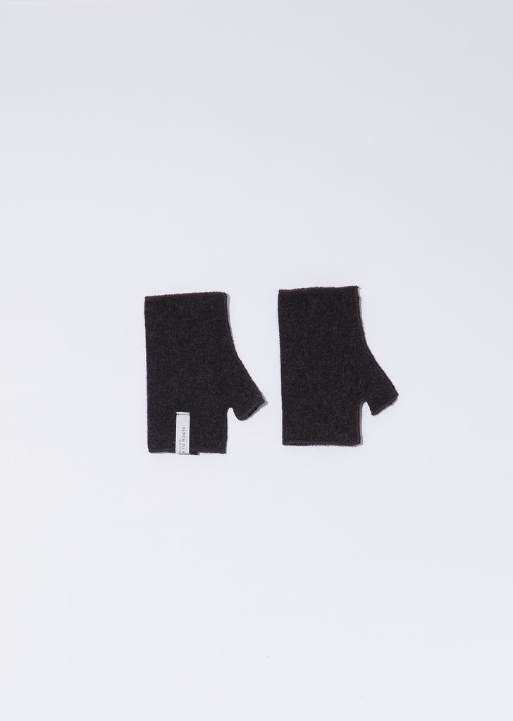 Cashmere Short Fingerless Gloves — Almost Black