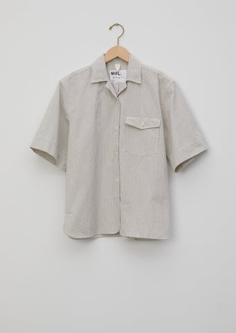 Irregular Fine Stripe Safari Shirt