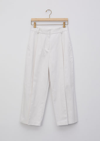 Cotton Linen Drill Deep Pleat Trouser