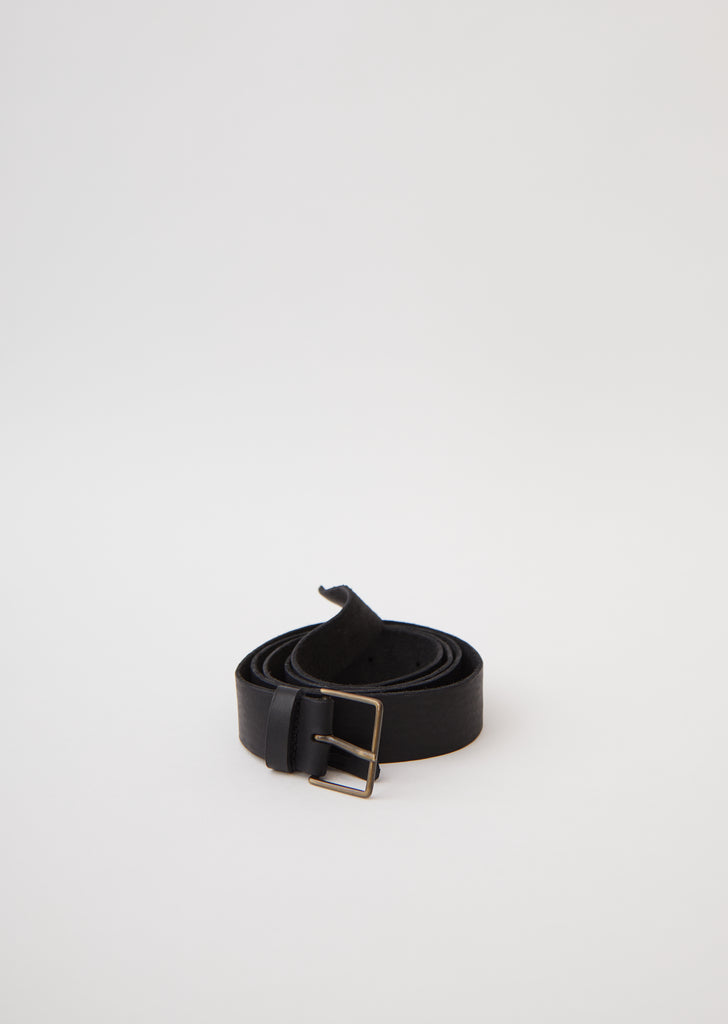 Leather High Belt with Buckle — Black
