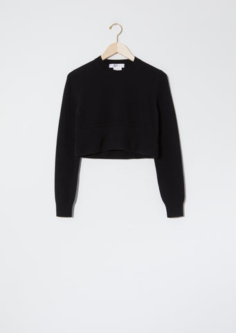 Worsted Wool Cropped Sweater — Black
