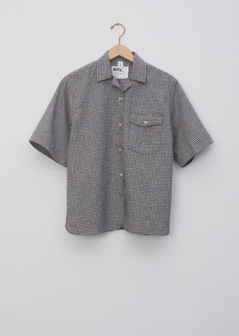 Cotton Linen Gingham Safari Shirt
