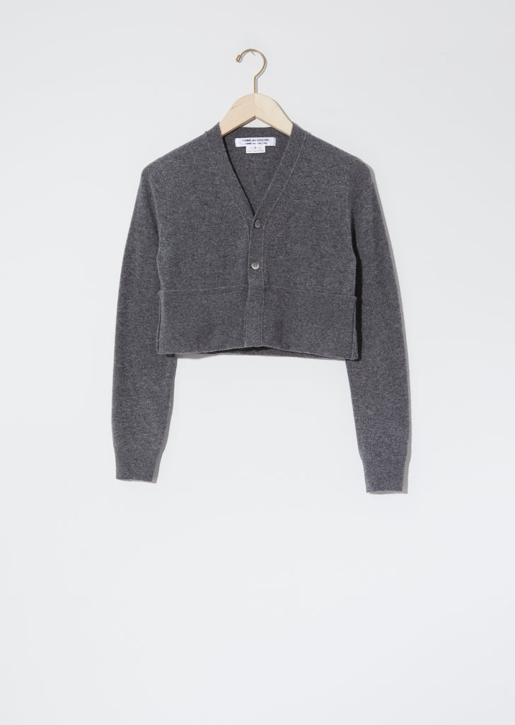 Worsted Wool Cropped Cardigan — Grey