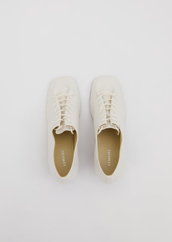 Heeled Derbies — White