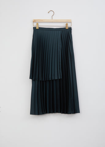 Satin Pleated Tiered Skirt