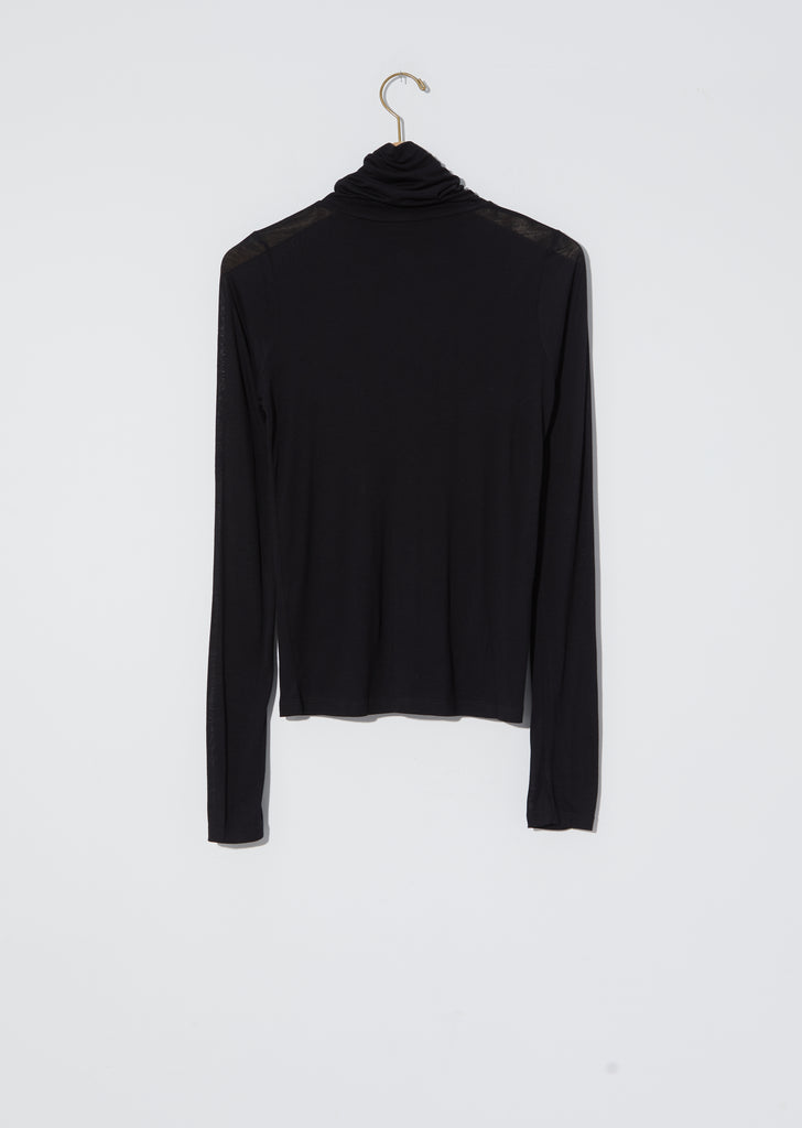 Bamboo Jersey Turtleneck — Black