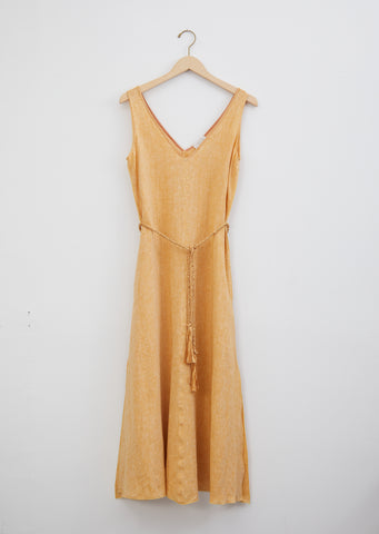 Shimmering Linen Dress with Belt