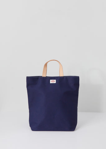 Leather Handle Canvas Tote — Navy