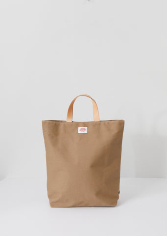 Leather Handle Canvas Tote — Beige