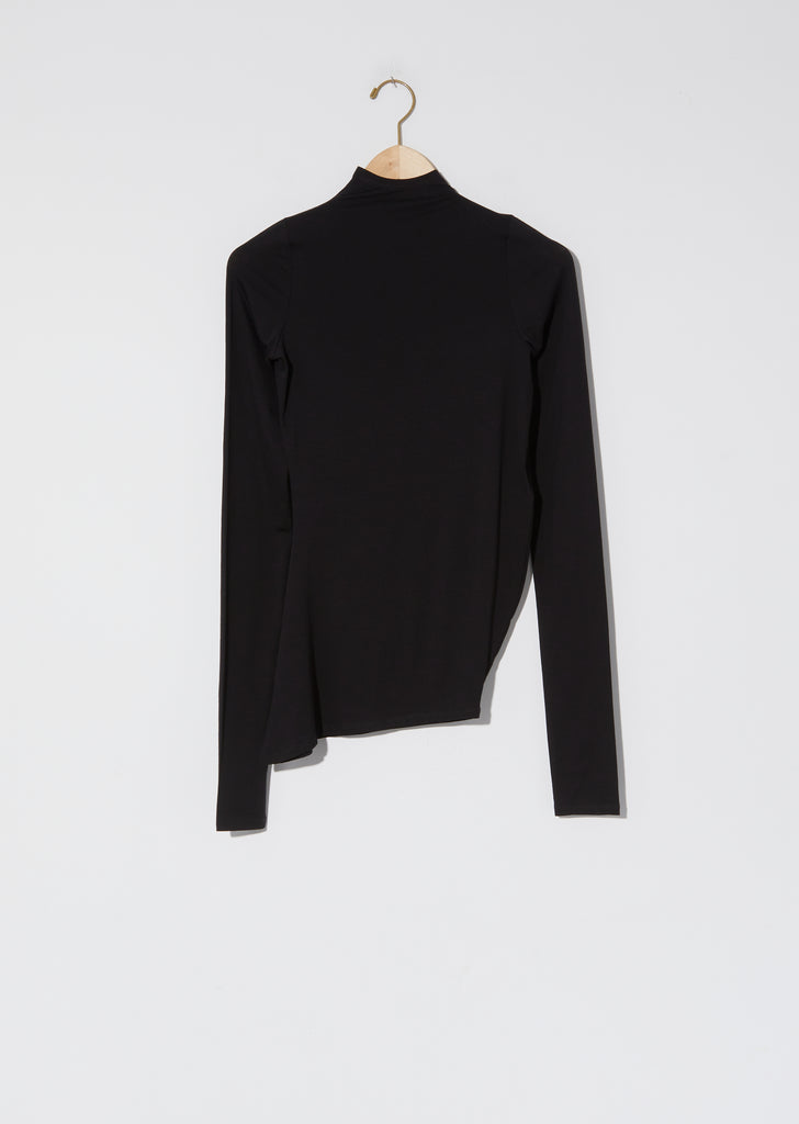 High Collar Twisted Secondskin Top — Black