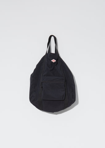 Nylon Top Handle Tote — Black