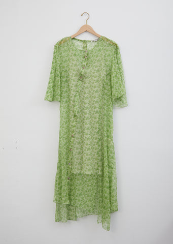 Dagny Fern Green Silk Chiffon Dress