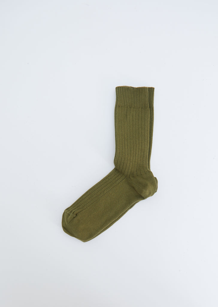 Rib Cotton Ankle Socks — Maple Green