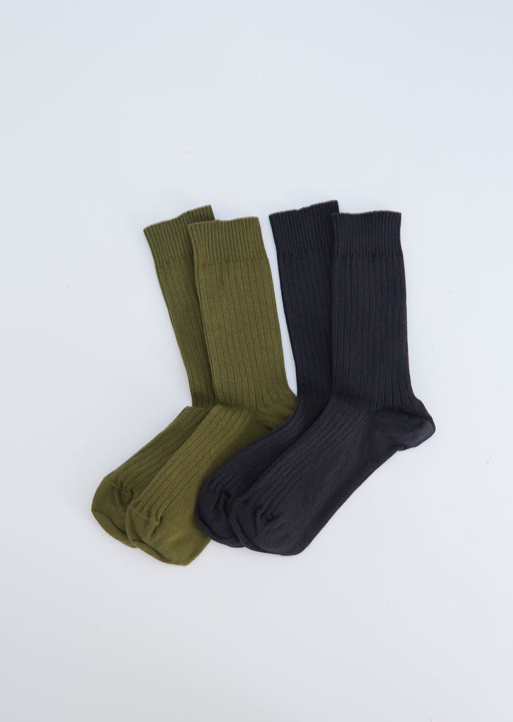 Rib Cotton Ankle Socks — Charcoal