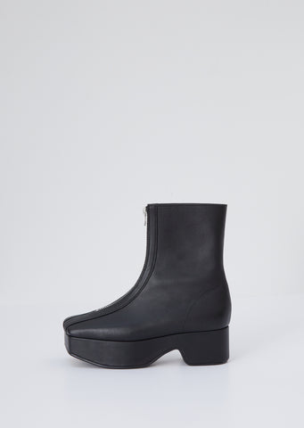Zipped Platform Boot — Black