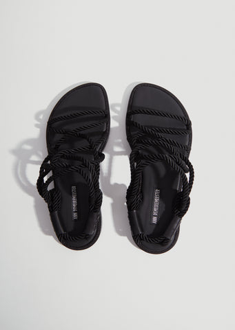 Corded Open Sandals — Black