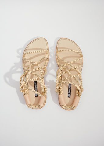 Corded Open Sandals — Naturale