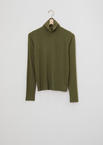 Bamboo Jersey Turtleneck — Apache Green