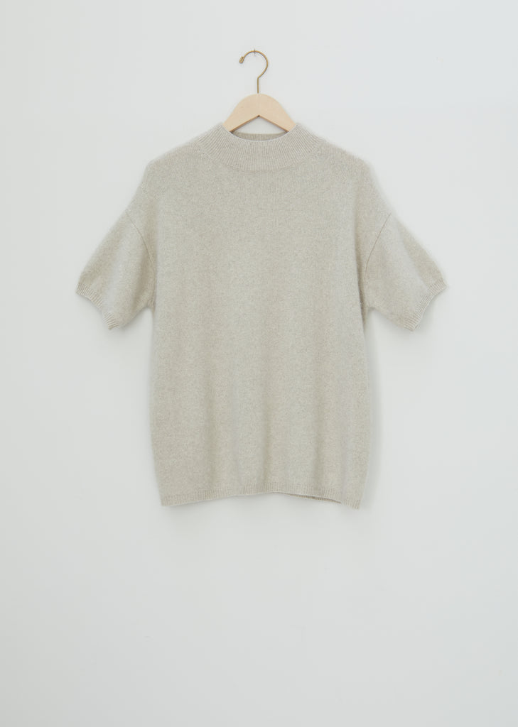 Pertusato Wool Short Sleeve Sweater — Stone