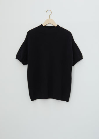 Pertusato Wool Short Sleeve Sweater — Black