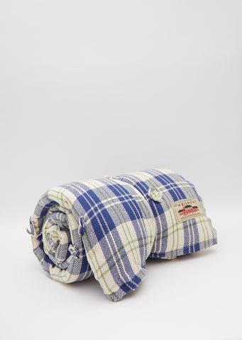 Cotton Check Futon — Blue